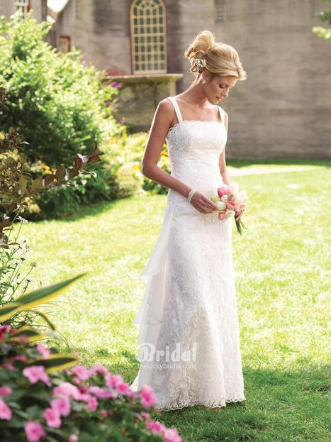 Sleeveless Floor Length Lace Informal Wedding Dress with Scalloped Square Neckline | Lace Wedding Dresses - theLuckyBridal.com | Scoop.it