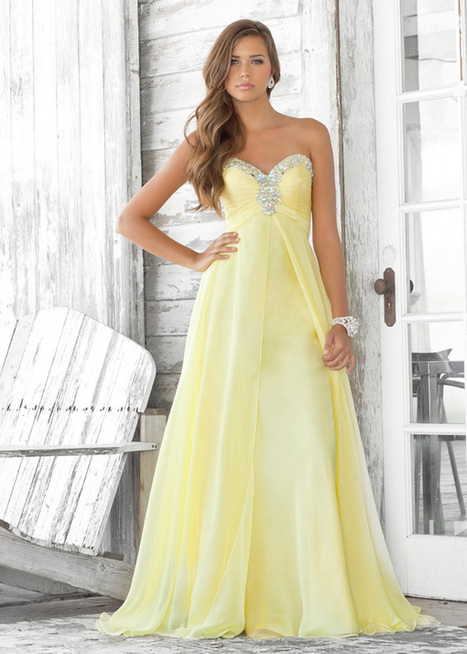 Strapless Long Chiffon Yellow Prom Dress With Beading [Yellow Prom Dress] - $150.00 : Cheap Prom Dresses 2014,Cheap Dresses For Prom 2014,Formal Prom Dresses On Sale | Women's Dresses | Scoop.it