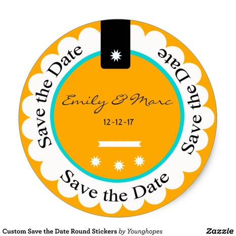Custom Save the Date Round Stickers | Weddings | Scoop.it