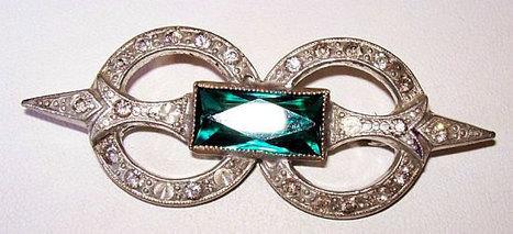 "Vintage Art Deco Brooch Pin Green & Clear Ice Rhinestones Cast Silver Metal C Clasp 2 1/2"" VG | vintage jewelry | Scoop.it"