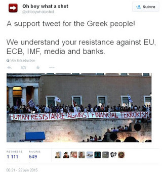 Buzz: soutien pour les Grecs contre les banksters @ohboywhatashot #Twitter | Toute l'actus | Scoop.it