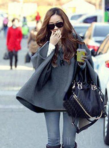 Gray Delicate Hooded Bat Korean New Arrival Shawl Overcoat | fashion clothes | Scoop.it