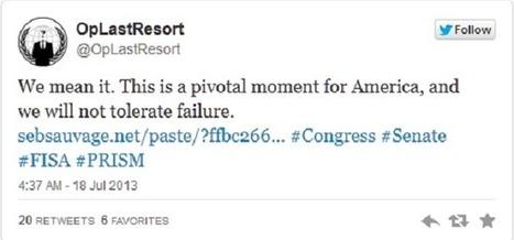 #PRISM : Anonymous attaque le Congrès américain et partage les ... - Presse-citron | We Are Anonymous | Scoop.it