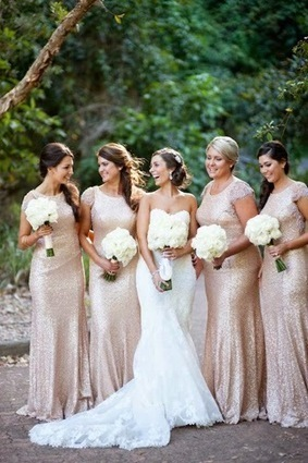 Golden sequined bridesmaid dresses make your Autumn wedding more sparkling | all about dresses | a la mode | Scoop.it