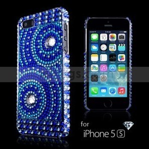 Concentric Circles Bling Rhinestone Hard Plastic Case Cover for Apple iPhone 5S White/Blue - Witrigs.com   Gadgets & Professional Repair Tools for smartphones   Scoop.it