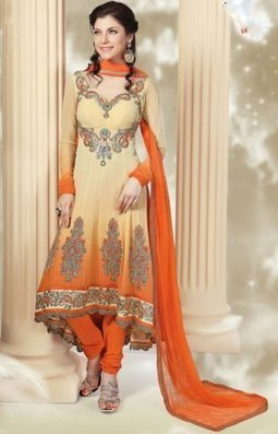 Designer Churidar Salwar Kameez Cream And Orange Chiffon PR40689009 | Designer Salwar Kameez | Party Wear Salwar Kameez | Bollywood Churidar Salwar Kameez | Scoop.it