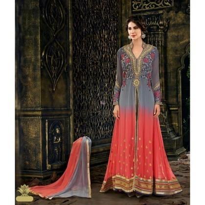 Grey and Peach Georgette Indian Anarkali Suits With Dupatta | Designer Salwar Kameez | Party Wear Salwar Kameez | Bollywood Churidar Salwar Kameez | Scoop.it