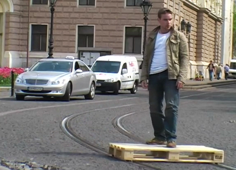 tomas moravec hacks a wooden pallet to glide down tram tracks | What's new in Industrial Design? | Scoop.it
