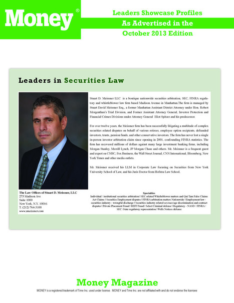 Stuart D. Meissner, Leader in Securities Law | Stuart Meissner for US Senate in New Jersey | Scoop.it