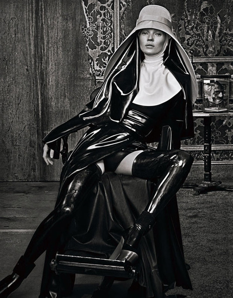 Kate Moss as Latex Rubber Nun | LFN - latex fetish news | Scoop.it