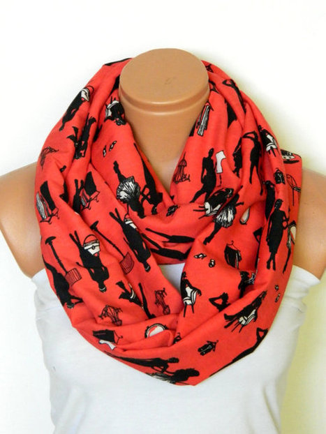 the human figure scarf,red scarves,Infinity Scarf,nomad scarf,Loop Scarf,Circle Scarf,cotton fabric Scarf,Cowl Scarf,eternity Scarf by WomensScarvesTrend | women fashion | Scoop.it