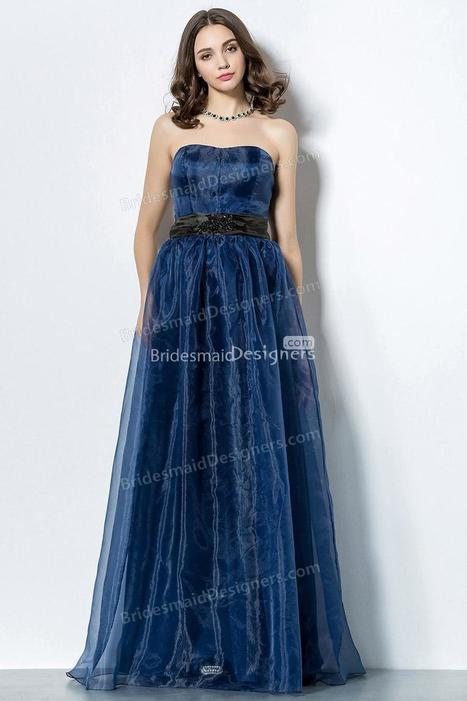 Navy Strapless Sweetheart Neck Long Organza Bridesmaid Dress with Black Ribbon | Designer Bridesmaid Dress 2014 | Scoop.it