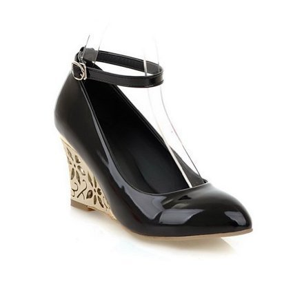 Vogue009 Females Wedge Leopard Pattern Closed Pointed Toe PU Pumps with Wrist Strap   Wedding Shoes   Scoop.it