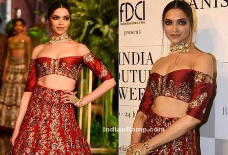 Deepika Padukone in Choker Necklace with Red Off Shouder Lehenga, Actress, Bollywood | Indian Fashion Updates | Scoop.it