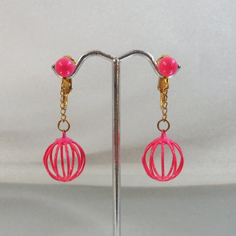 Vintage Mod Pink Earrings. Atomic Mod Retro 1970s.  Geometric Hot Pink Balls.   I Love Vintage Jewelry   Scoop.it