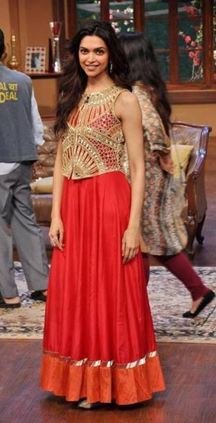 Fashion to Celebrate - Hot Sarees Buys (Bollywood Replica Collections): Deepika Padukone's Red Anarkali Dress at Chennai Express Promotions   Bollywood Anarkali Dresses   Scoop.it