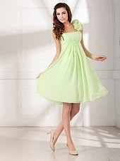 Ruffled One Shoulder Strap Knee Length Chiffon Bridesmaid Dress | fashion | Scoop.it