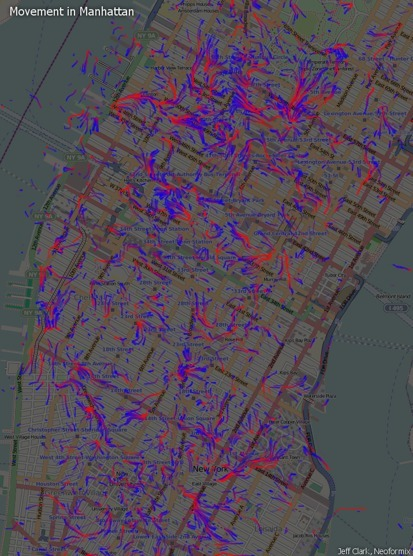 Exploring the flow of people in a city -Movement in Manhattan | Jeff Clark | Data is Beautiful | Scoop.it
