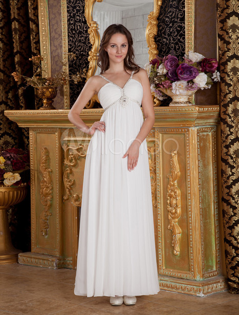 White V-Neck Floor Length Rhinestone Empire Chiffon Prom Dress | Summer Dresses | Scoop.it