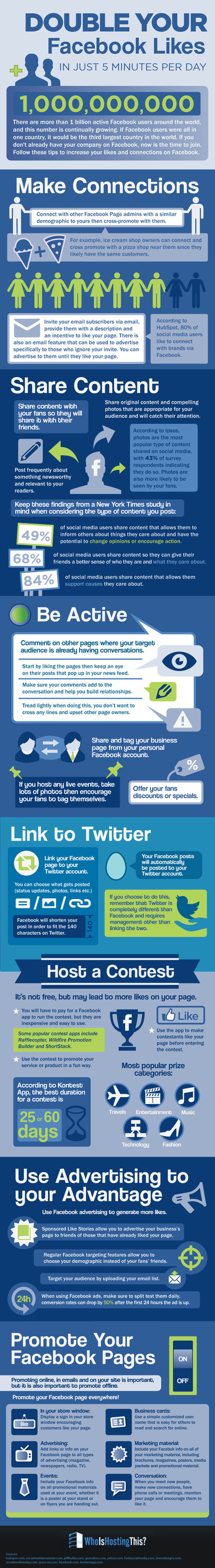10 Tips to to Double Your Facebook Likes #infographic | MarketingHits | Scoop.it