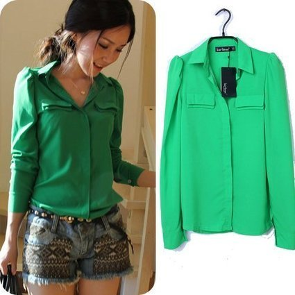 Free Shipping S   5XL Cheap Korean Style Fashion Casual Green/Pink Long Sleeve Chiffon Blouses & Shirts For Women New 2014 Tops-inBlouses & Shirts from Apparel & Accessories on Aliexpress.com | peaceful lady | Scoop.it