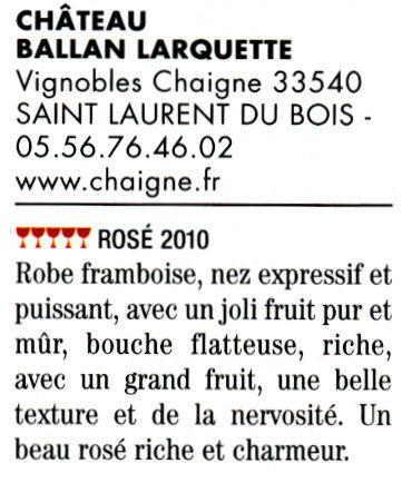 Guide Hubert 2011 - Château Ballan-Larquette Bordeaux rosé 2010 | Nombrilisme | Scoop.it