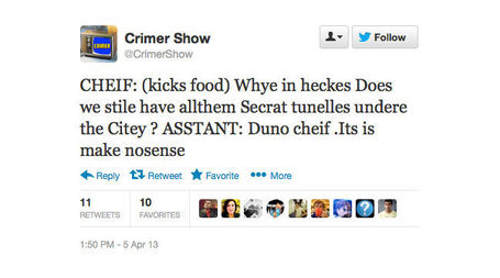 """Crimer Show"" Is Twitter's Heavily Typoed, Insane Answer To CSI 