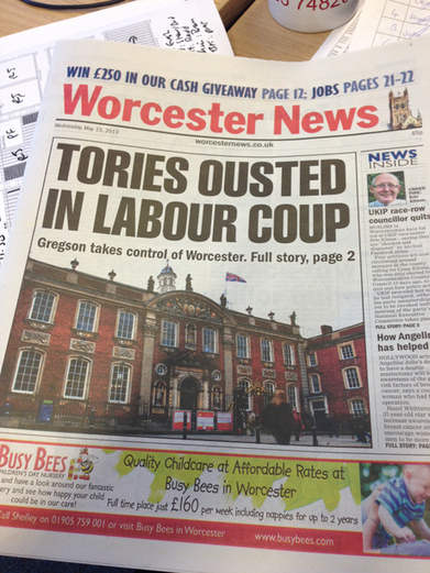 """""""Tories ousted by Labour coup?""""  Worcester or Westminster? 