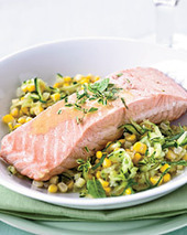 Poached Salmon with Corn and White Wine-Butter Sauce Recipe - Kristin Donnelly | Food & Wine | SEAFOOD RECIPES | Scoop.it