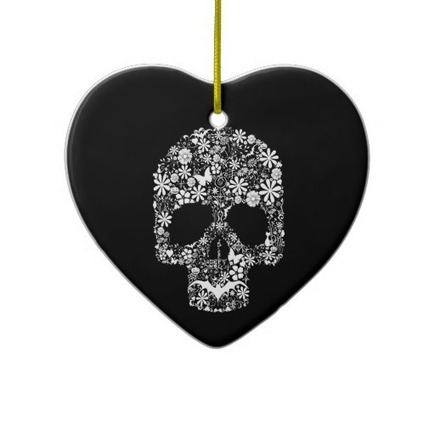 Flower Skull, (white version) Christmas Ornaments from Zazzle.com | Shot Of Steam | Scoop.it