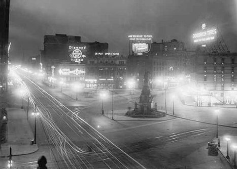 Old Detroit Opera House Campus Martius Night City 1910 Streetlights Street Car Tracks Black and White Historic Photography Photo Print | Lighting in history | Scoop.it