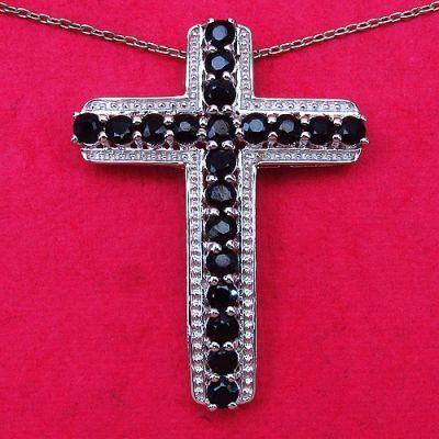 2.80CTW Genuine Blue Sapphire .925 Sterling Silver Cross Shape Pendant   Online Jewellery Shopping in India   Scoop.it