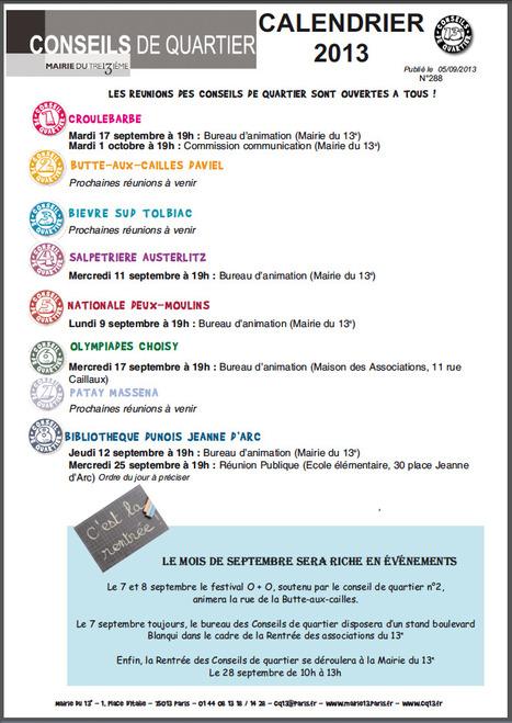 Agenda des Conseils de quartier Paris 13ème -  N° 288 | actions de concertation citoyenne | Scoop.it
