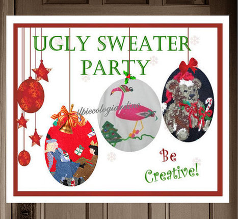 Ugly Sweater Party Christmas Poster Decoration Card Instant Download Printable Invitation You print by ilPiccoloGiardino | Candy Buffet Weddings, Events, Food Station Buffets and Tea Parties | Scoop.it