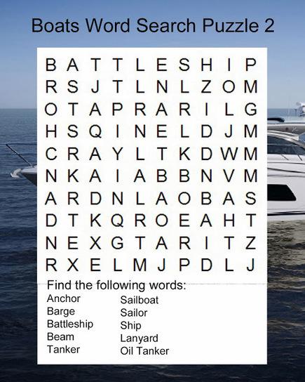 Crispy Kresten: Boats Word Search Puzzle 2 | Mind games | Scoop.it