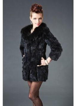 Women's Furs :: Fur Coats :: Rabbit :: Genuine Full Skin Rex Rabbit Stroller Coat with Fox Fur Shawl Collar - | furs | Scoop.it