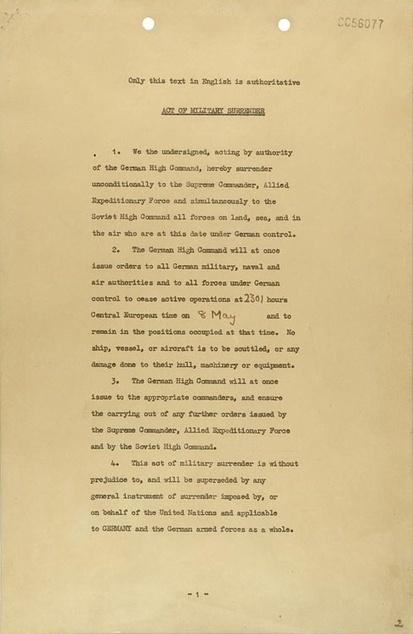 Acte de capitulation allemand de Reims (7 mai 1945) | documents | temoignages-documents | Histoire de France | Scoop.it