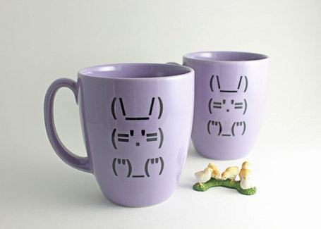 Ascii Bunny Rabbit Coffee Cup - Lilac Mug with Computer Punctuation Bunny | ASCII Art | Scoop.it