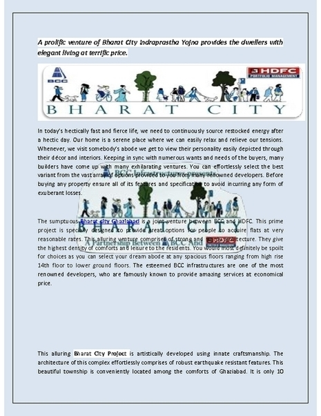 Call @ 9266552222 to Buy Your Dream Home in Bharat City Indraprastha Yojna | bharatcity | Scoop.it