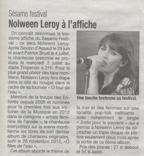 Nolwenn Leroy au Sésame Festival à Montélimar | Montélimar Agglo Festival 2014 | Scoop.it