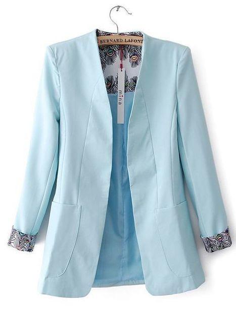 V Neck Long Sleeve Plain Fitted Cotton Blending Jacket : KissChic.com | Kisschic Fashion Dresses | Scoop.it