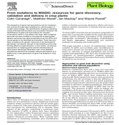 From mutations to MAGIC: resources for gene discovery, validation and delivery in crop plants | Plant multi-parent advanced generation intercross (MAGIC) populations | Scoop.it