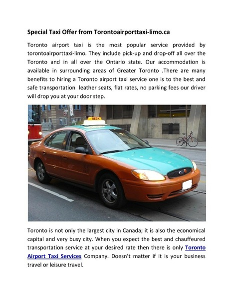 Special Taxi Offer from Torontoairporttaxi-limo.ca | edocr | Toronto Airport Taxi | Scoop.it