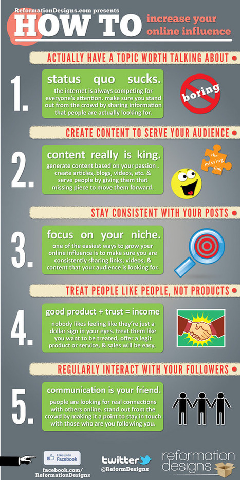 How To Increase Your Online Influence (Infographic + Video) | Social Marketing Revolution | Scoop.it