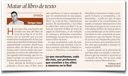 Matar al libro de texto, mi columna en Expansión por @edans | Create, Innovate & Evaluate in Higher Education | Scoop.it