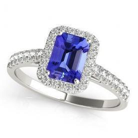 .80ct Emerald Cut Tanzanite Ring With .272ctw Diamonds in 14k White Gold | Tanzanite Rings | Scoop.it