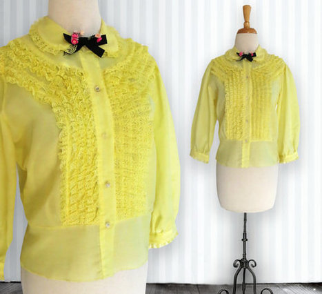 Vintage Yellow Prairie Blouse. Cotton. Light. Transparent Shirt. Sheer. Clear Buttons. Frilly. Lacy. Feminine. Rockabilly. Hipster. | DustyDesert vintage | Scoop.it