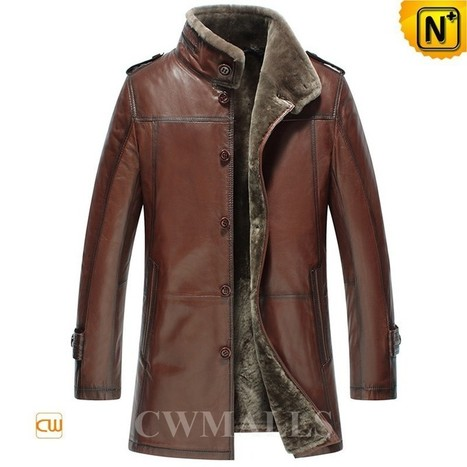 CWMALLS® Mens Leather Shearling Coats CW858102 | Leather Trench Coat | Scoop.it