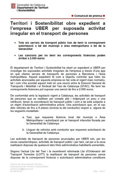 Comunicat de Transports: Territori i Sostenibilitat obre expedient a l ... | taxi barcelona | Scoop.it