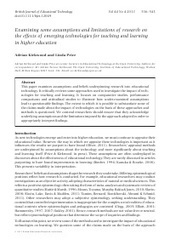 Examining some assumptions and limitations of research on the effects of emerging technologies for teaching and learning in higher education - Kirkwood - 2013 - British Journal of Educational Techn... | Enhancing Learning with Technology | Scoop.it